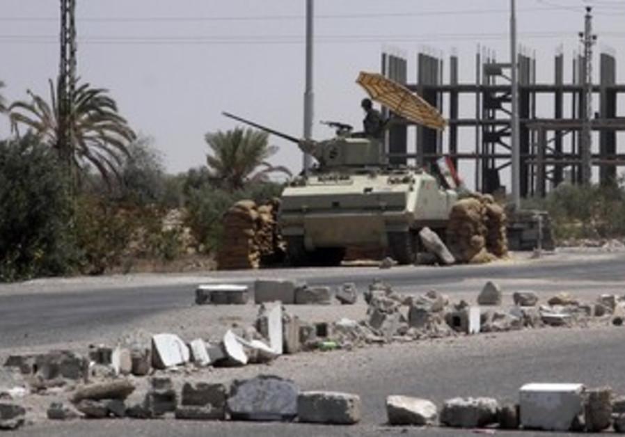 Egyptian soldiers in Rafah in the Sinai Peninsula