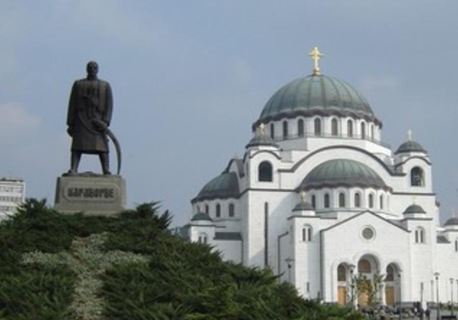 St. Sava cathedral in Belgrade, Petrovic statue