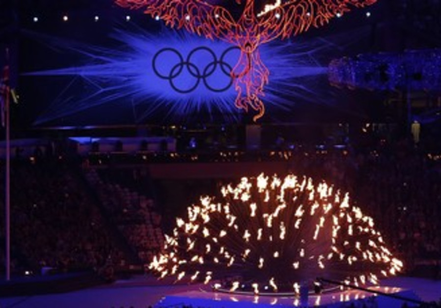 Olympic flame during the closing ceremony