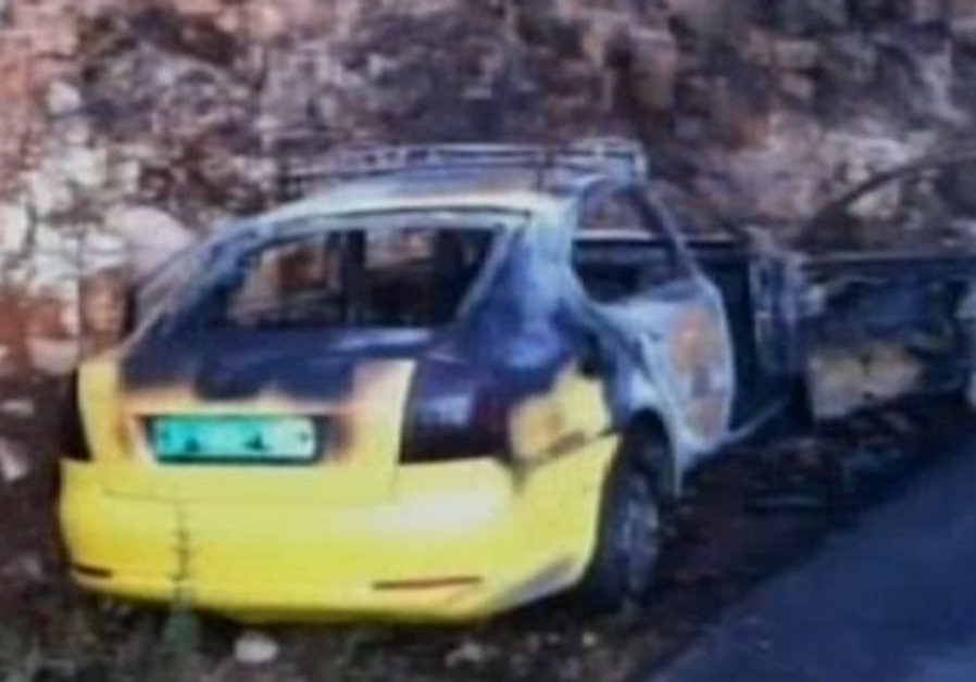 Palestinian vehicle damaged in attack