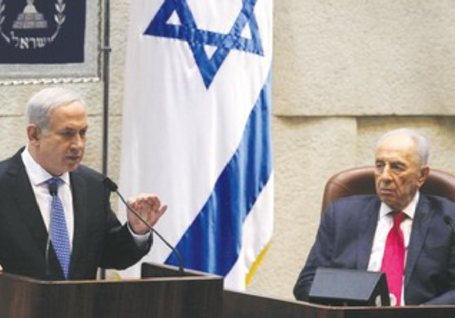 Peres and Netanyahu at Press Conference 370