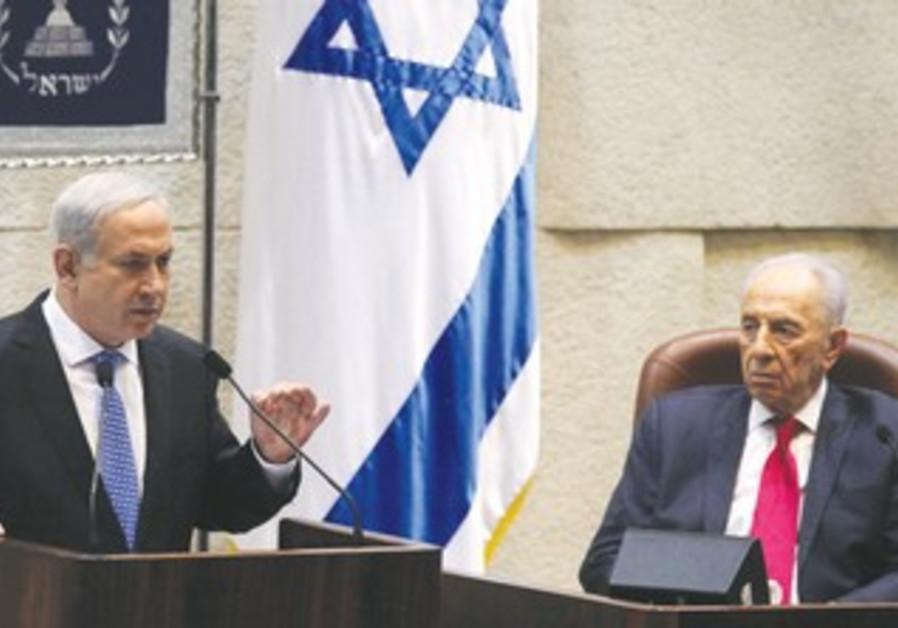 Peres and Netanyahu at Press Conference 370