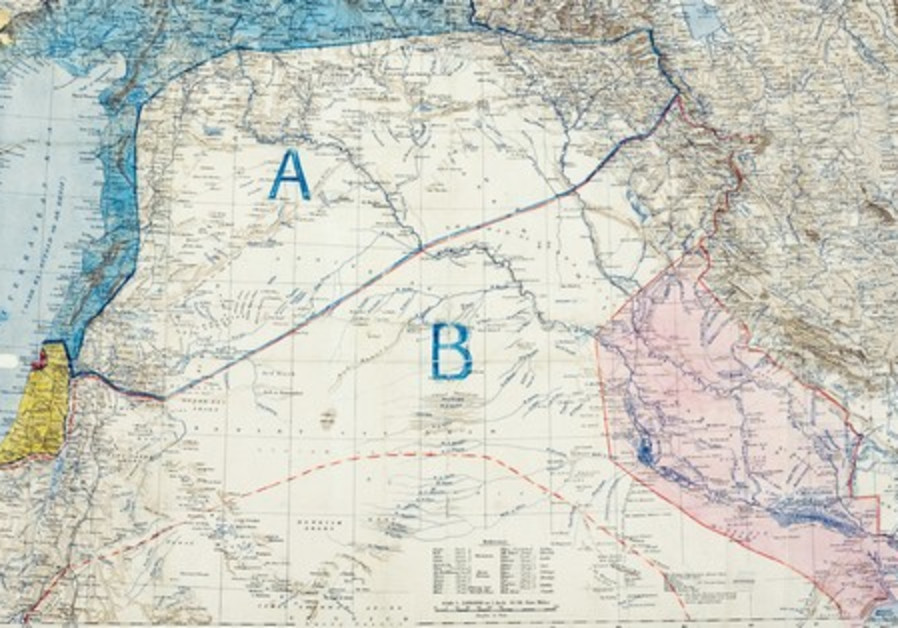 THE SYKES-PICOT agreement map, drawn up in 1916.
