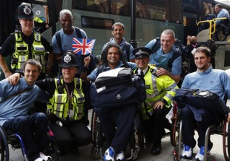 British policemen with French Paralympics team
