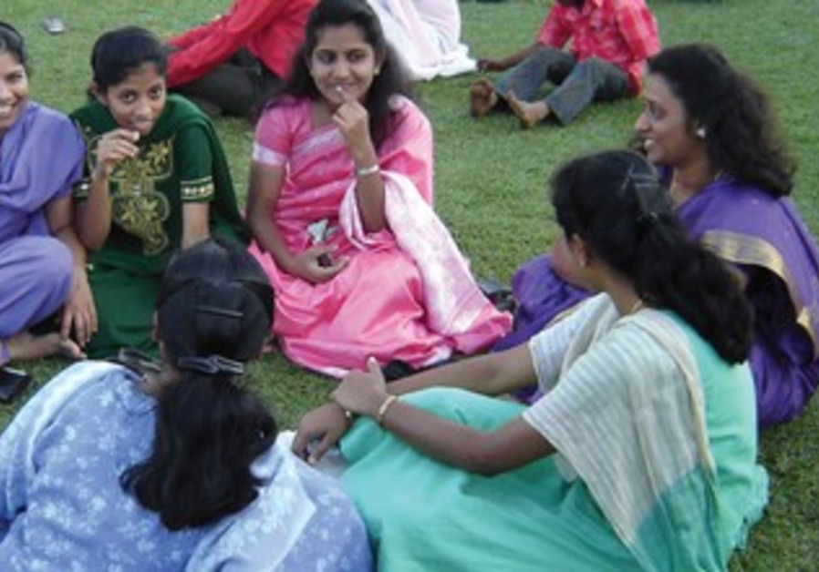 Women at a park in Mumbai