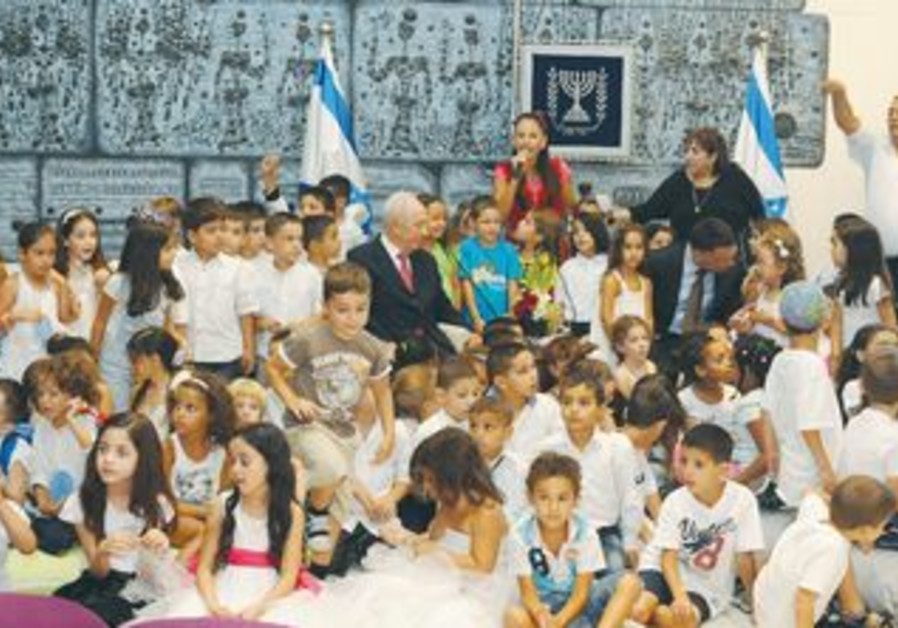 President Peres with 120 children