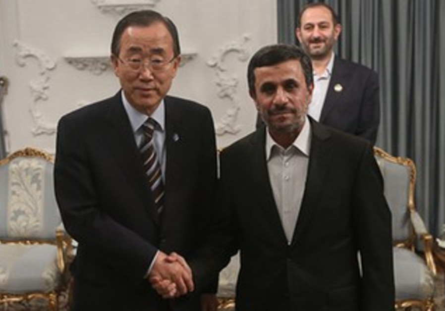 UN chief Ban and Iranian President Ahmadinejad