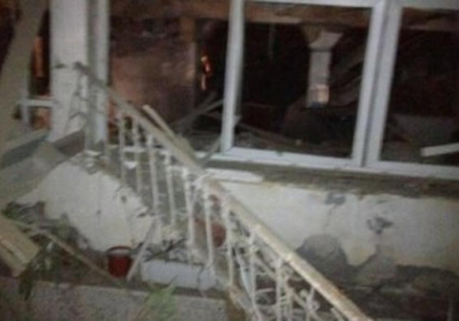Netivot home damaged by Gazan Grad rocket
