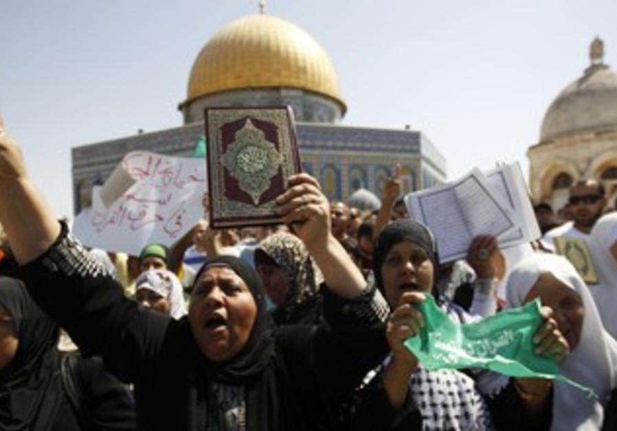 A protest after Friday prayers in Jerusalem