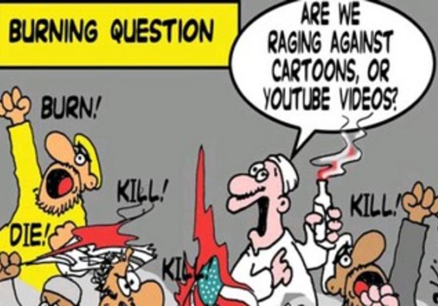 Muslim protesting cartoon
