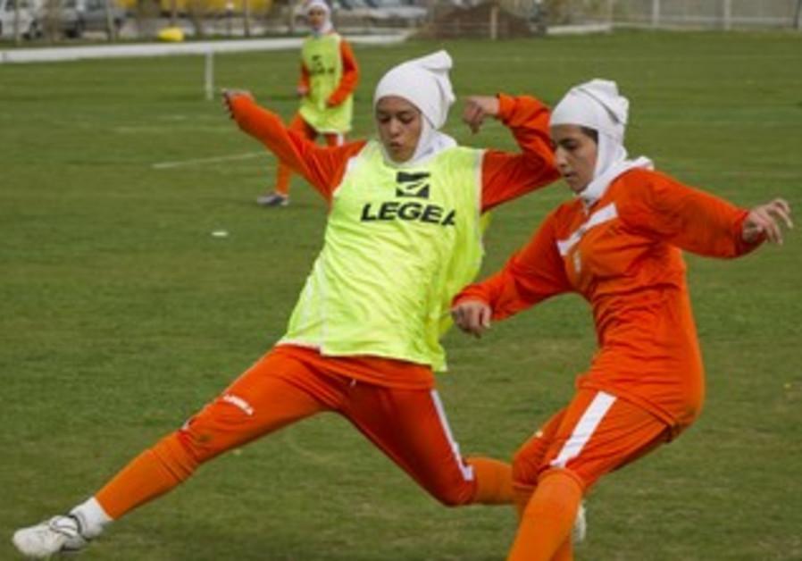 Members of Iran's women's national soccer team