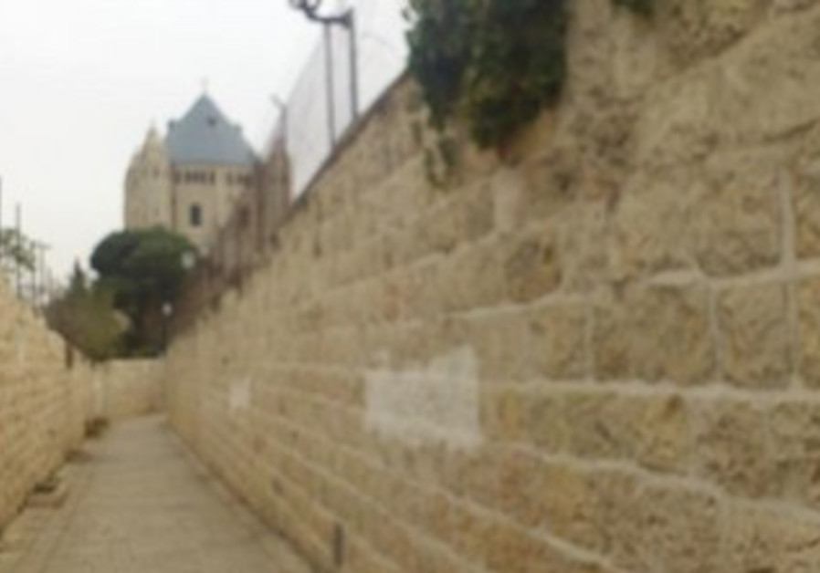 Cleared grafitti at Dormition Abbey in J'lem