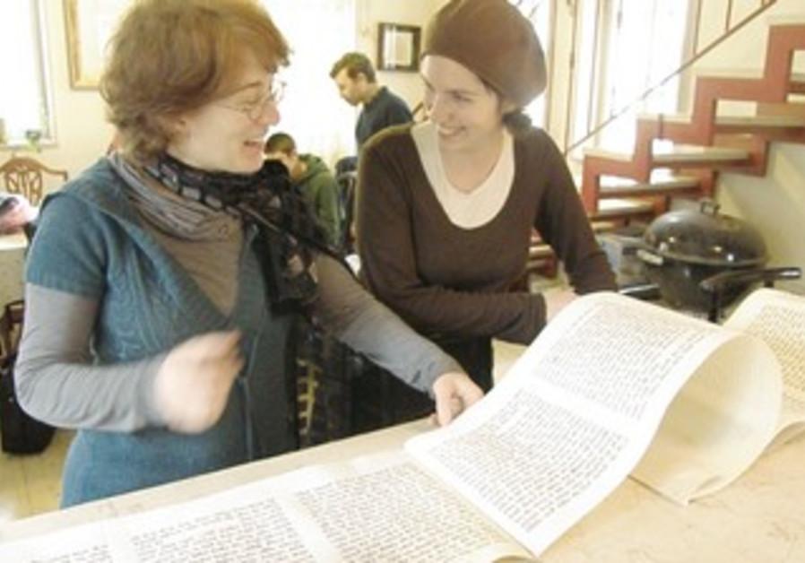 Nava Levine-Coren with Megilat Esther scroll