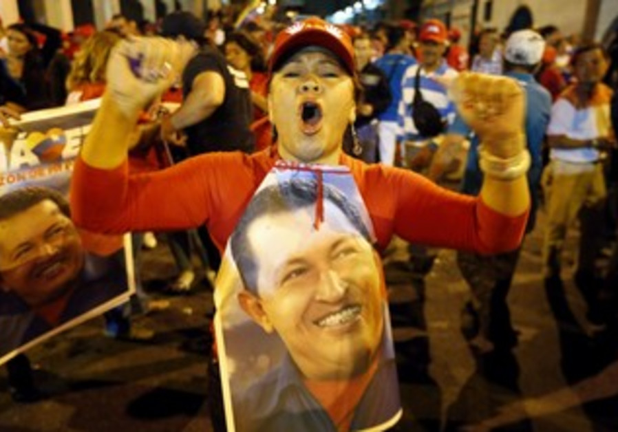 Supporters of Venezuela's Hugo Chavez celebrate
