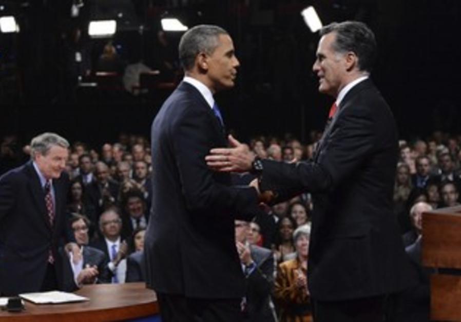 US President Obama with Mitt Romney at debate