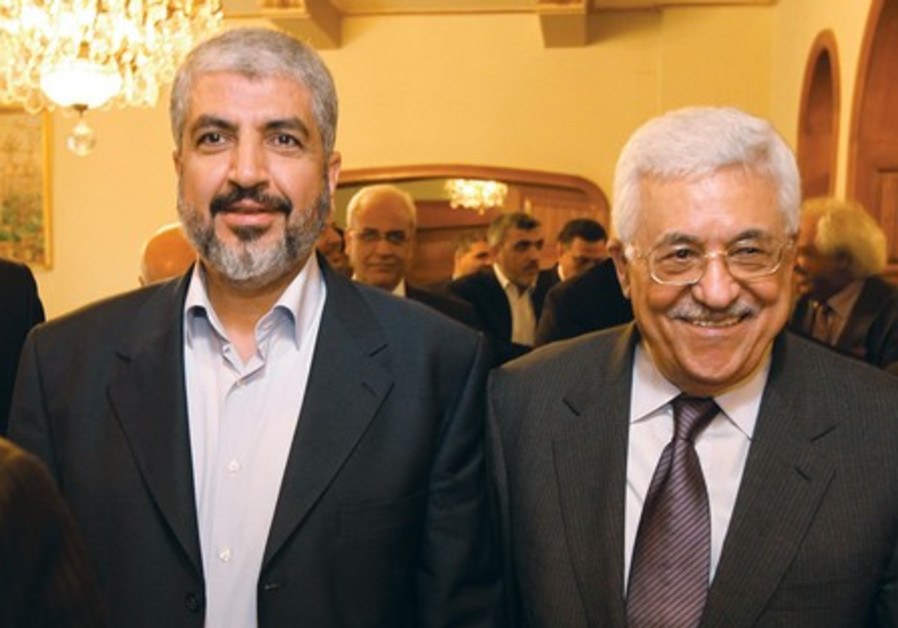 PA chief Abbas and Hamas leader Mashaal in Cairo