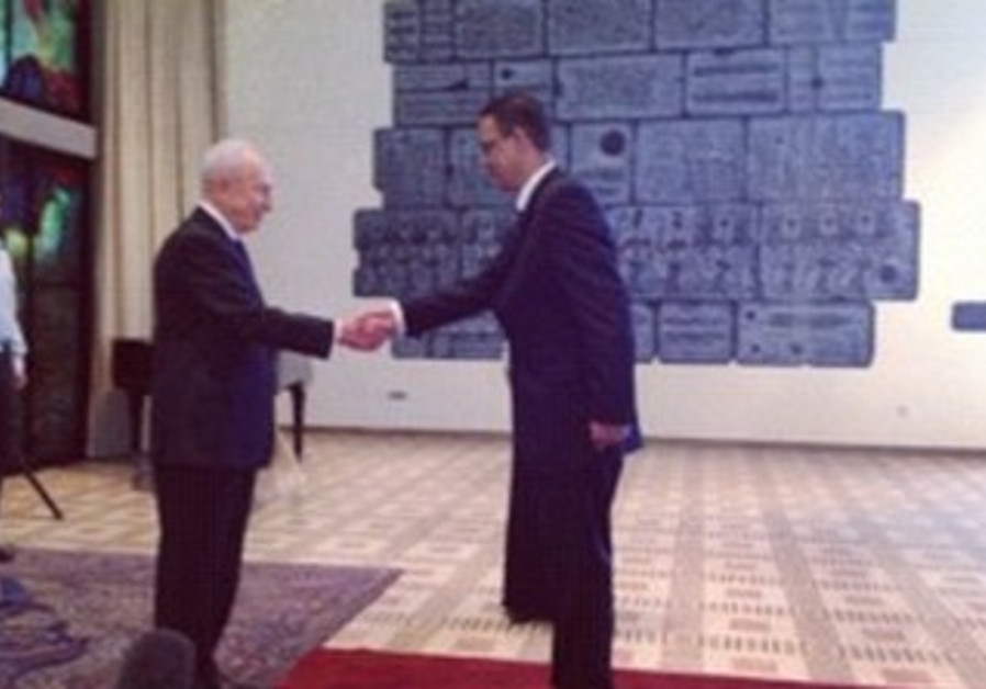 President Peres and new Egypt ambassador