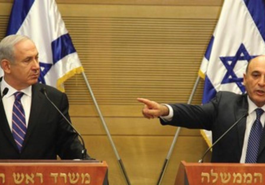 Netanyahu and Mofaz announcing joining coalition
