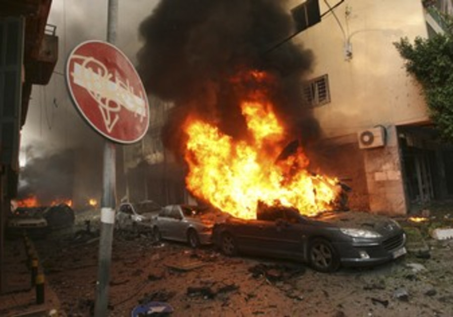 Car bomb damage in Beirut, Lebanon.