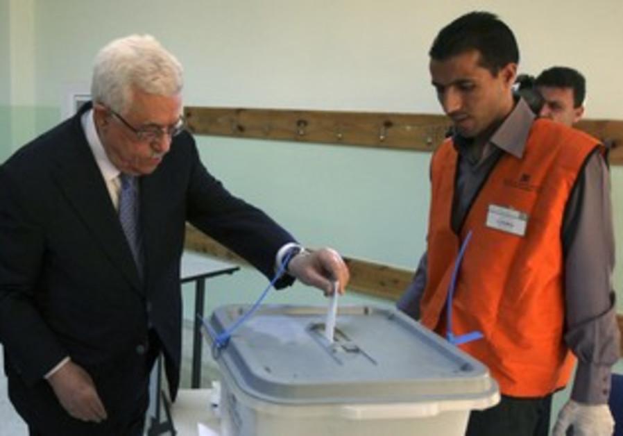 PA President Mahmoud Abbas votes in Al-Bireh