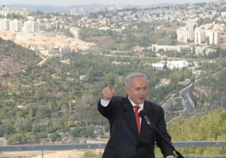 Prime Minister Binyamin Netanyahu speaks in Gilo.