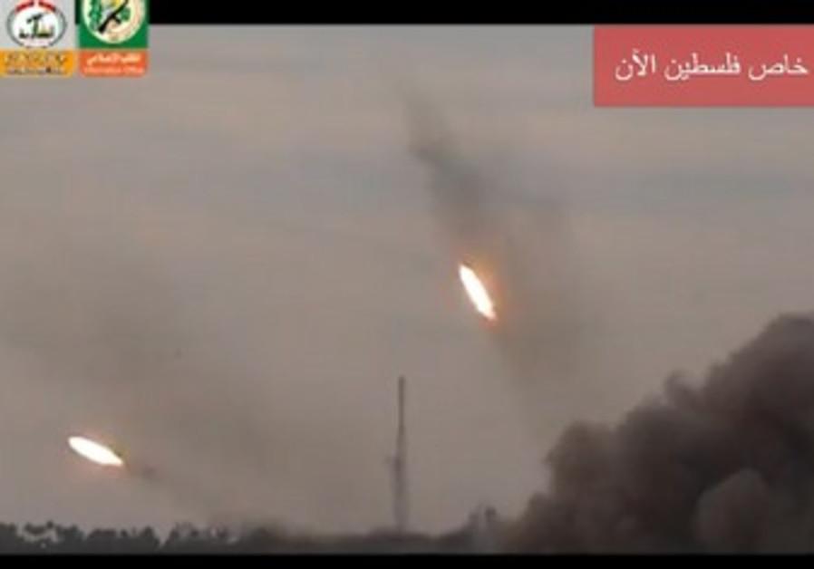 Still from Hamas video of rocket fire.