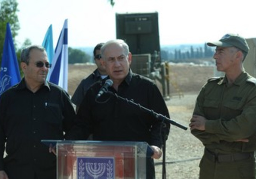 Netanyahu and Barak at Iron Dome site.