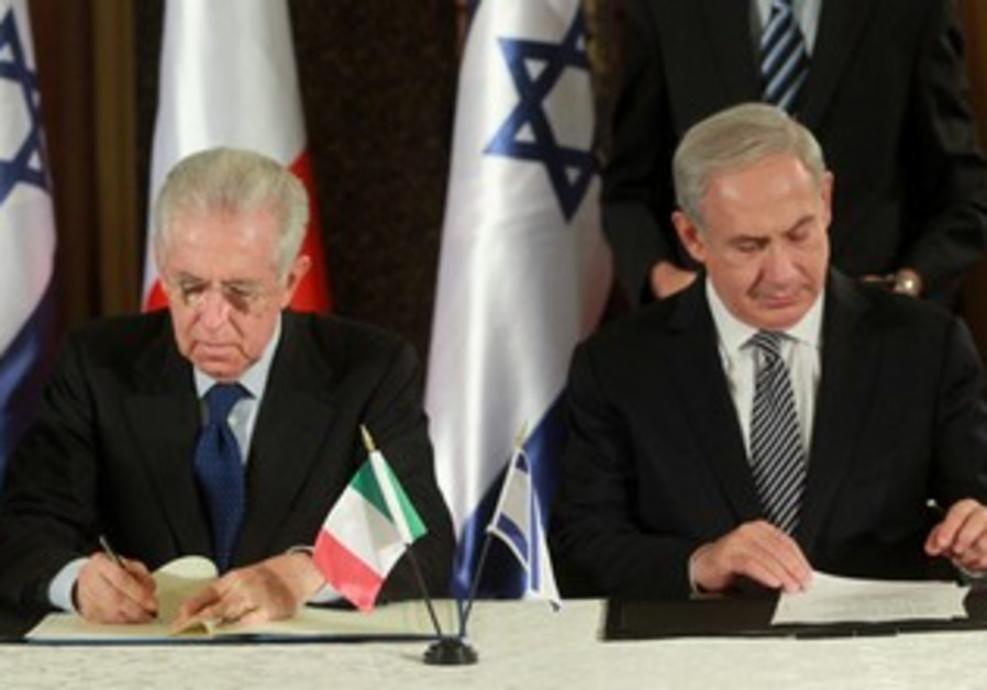 PM Netanyahu with Italian counterpart Mario Monti