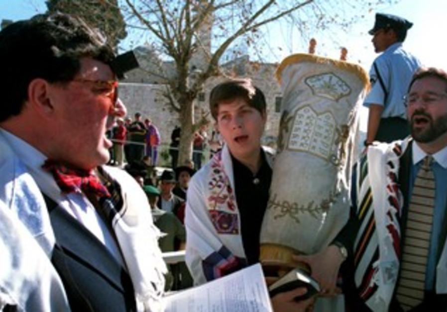 Reform Jews, including Anat Hoffman, praying