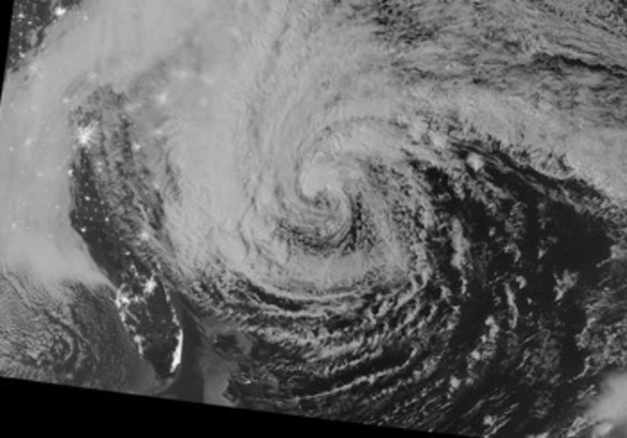 Hurricane Sandy pictured off east coast of US