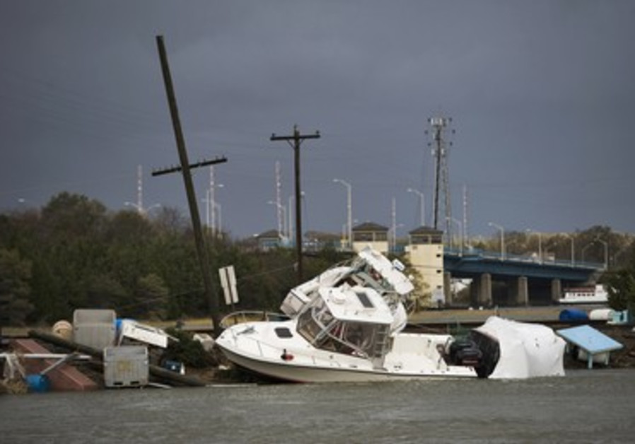 Boats and flotsam washed up by Hurricane Sandy