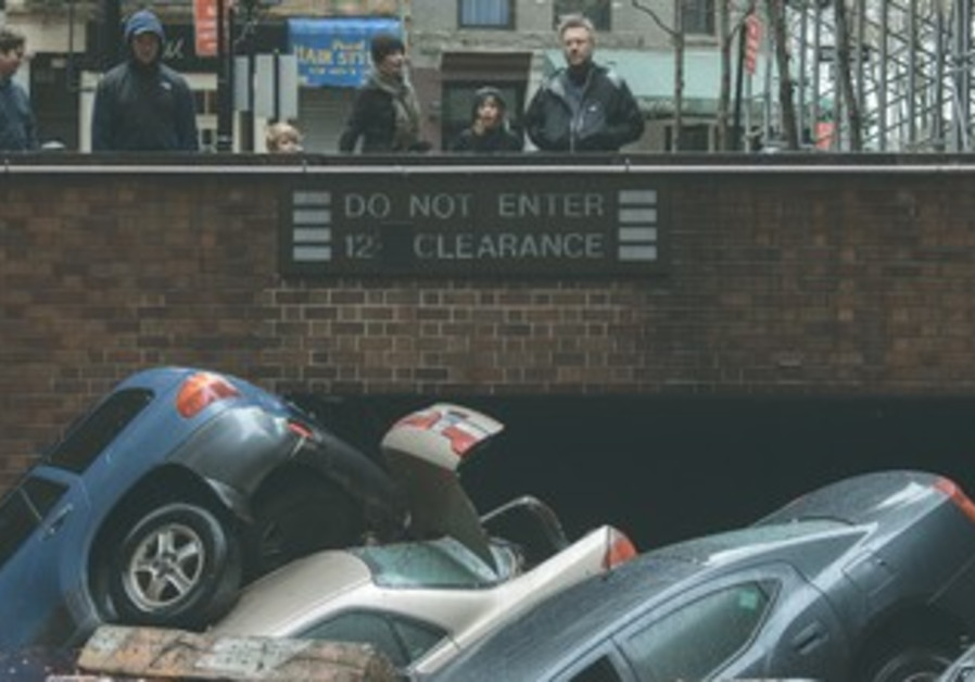 Submerged cars in lower Manhattan