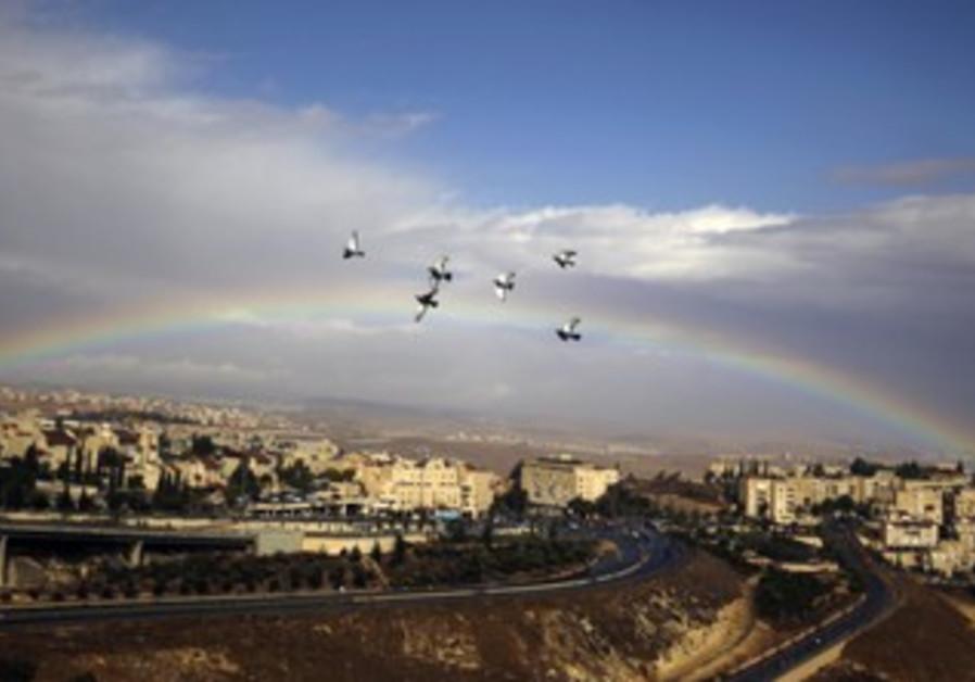 Rainbow in Jerusalem's Pisgat Ze'ev neighborhood
