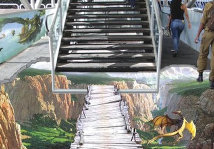 3D like depiction of stairs at Azrieli Center