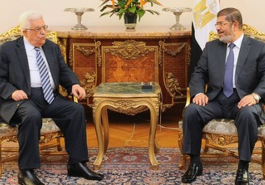 Mahmoud Abbas with Mohamed Morsi in Cairo