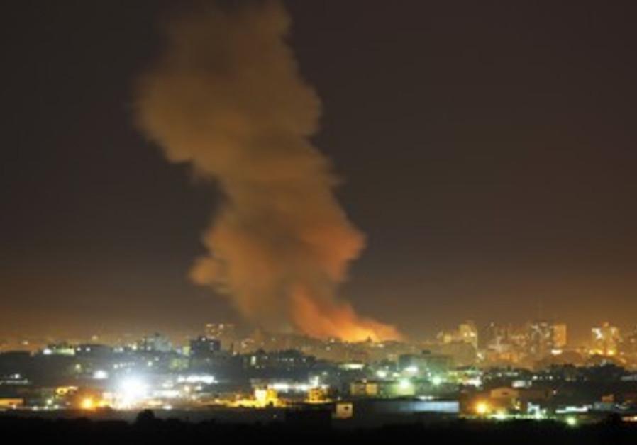 An Israeli air strike in the Gaza Strip
