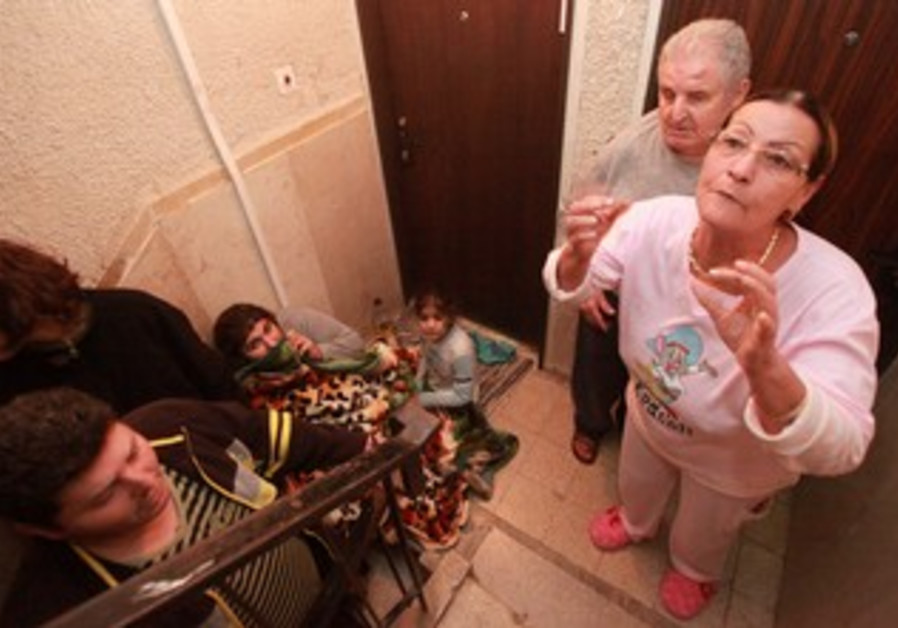 Beersheba residents take shelter in a stairwell