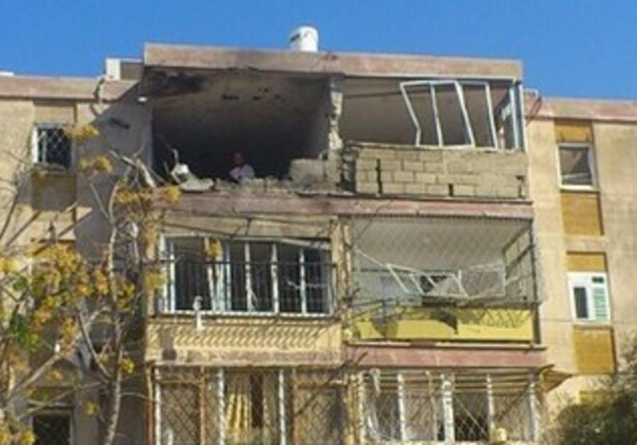 A Kiryat Malachi building after a rocket strike from Gaza, November 2012.