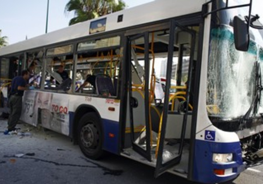 Tel Aviv bus hit by explosion.
