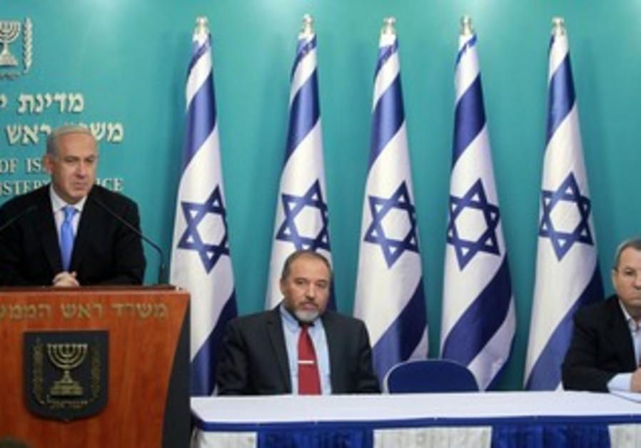 Netanyahu, Barak, Liberman press conference