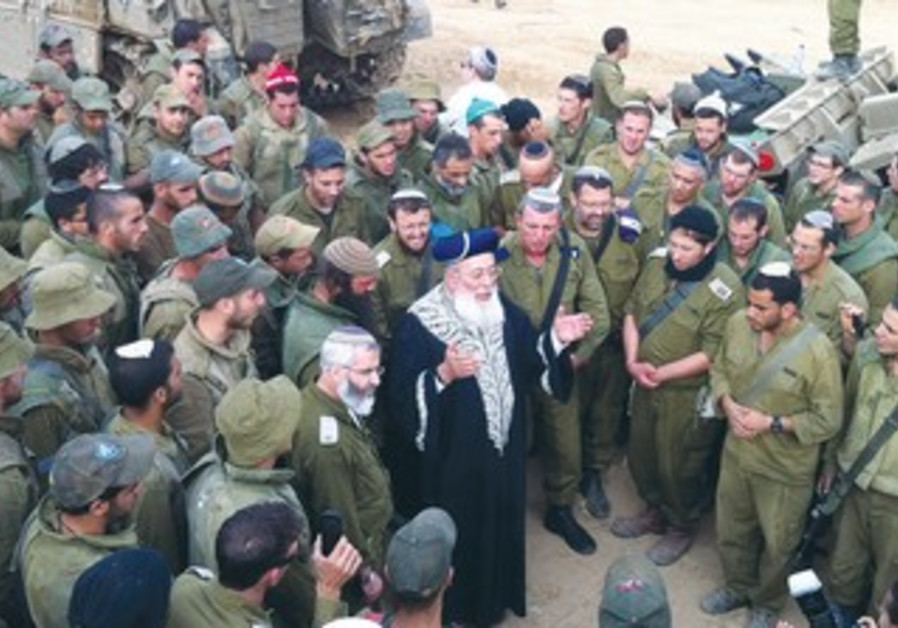 CHIEF RABBI Amar visits soldiers outside Gaza