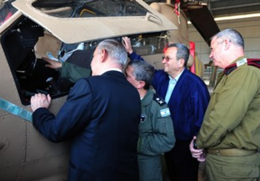 Barak, Netanyahu, Gantz visit air-force