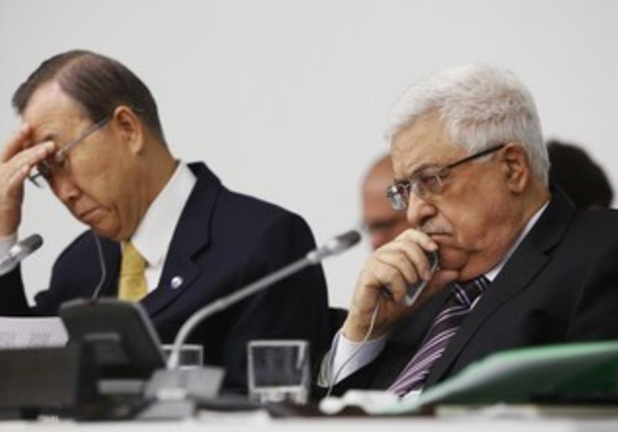 PA President Abbas and Ban Ki-moon at the UN
