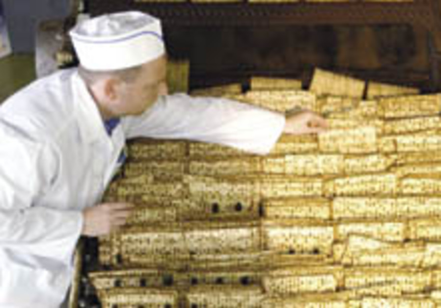 Matza exports surge for Pessah, but drop is expected next year
