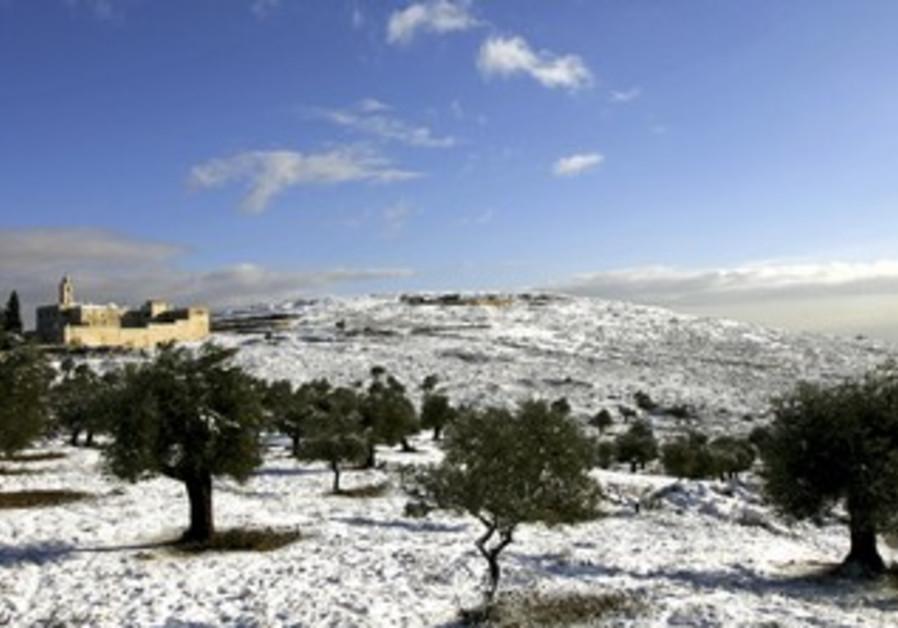 Snow outside of Jerusalem