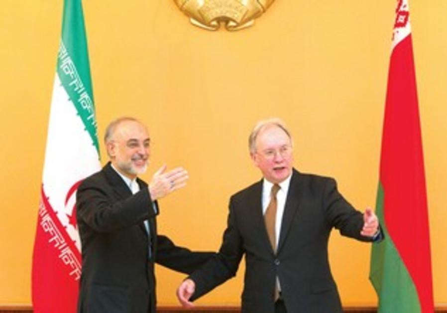 Iran FM Saheli with Belarus counterpart Martynov