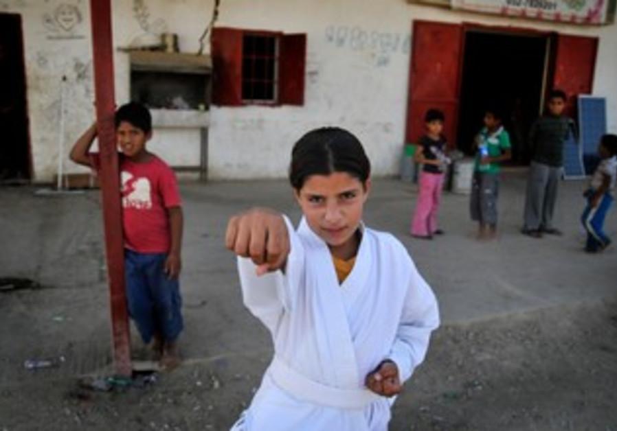 Hazem Abu Qwedar  teaches karate