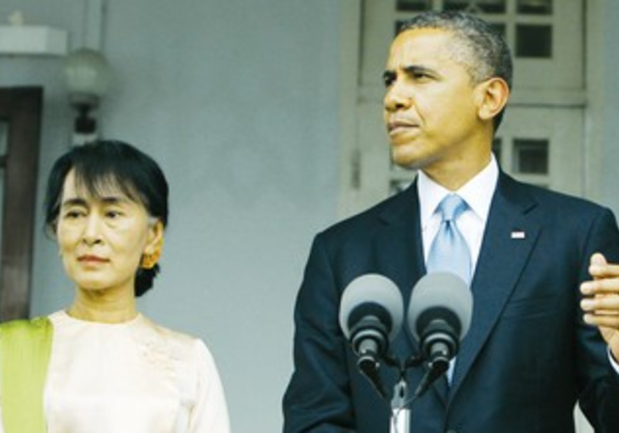 Obama with Myanmar's Opposition Leader.