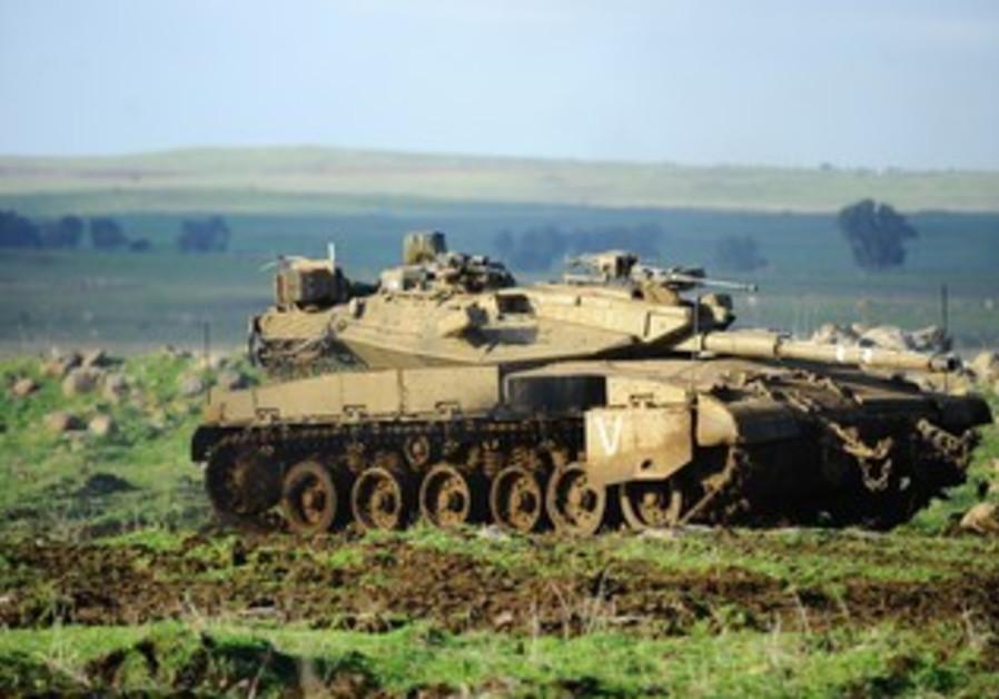 IDF tank patrols Golan Heights