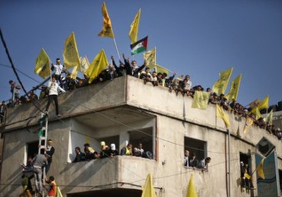 Fatah supporters at rally in Gaza City